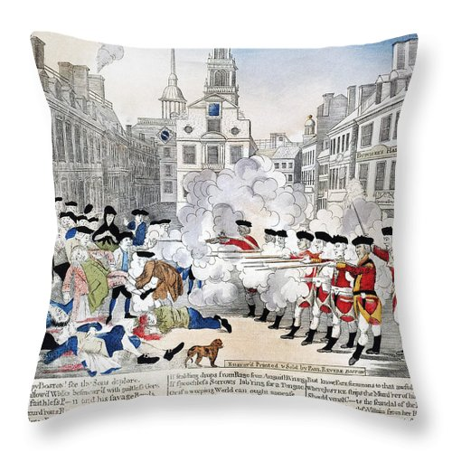 1770 Throw Pillow featuring the photograph Boston Massacre, 1770 by Granger