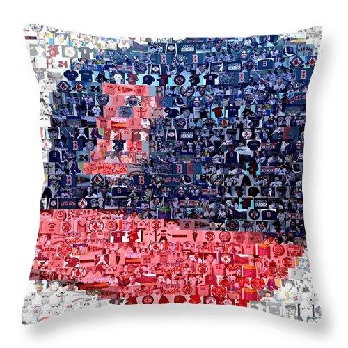 Boston Throw Pillow featuring the digital art Boston Red Sox Cap Mosaic by Paul Van Scott