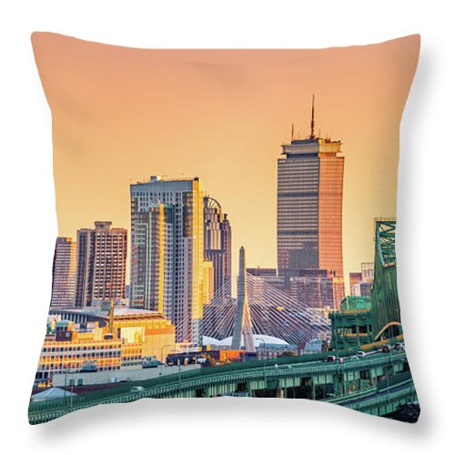 Massachusetts Throw Pillow featuring the photograph Boston Skyline by Mihai Andritoiu