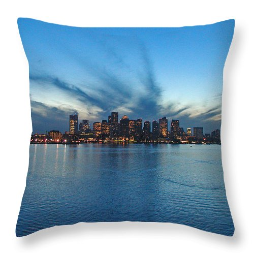 Landscape Throw Pillow featuring the photograph Boston Skyline by Tito Santiago