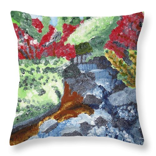 Landscape Throw Pillow featuring the painting Botanic Garden Merano 2 by Valerie Ornstein