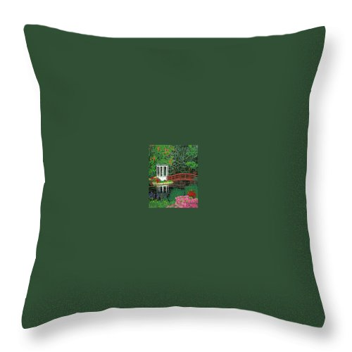 Art Throw Pillow featuring the painting Botanical Garden Park Walk Pink Azaleas Bridge Gazebo Flowering Trees Pond by Baslee Troutman