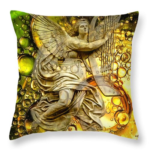 Angel Throw Pillow featuring the digital art Both Worlds 2015 by Kathryn Strick