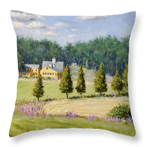 Farm Throw Pillow featuring the painting Bothways Farm by Steven A Simpson