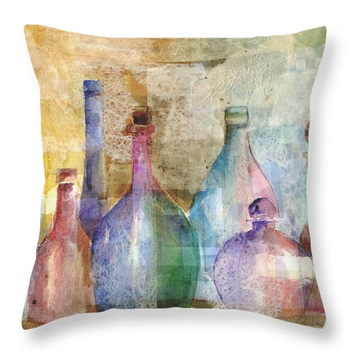 Bottle Throw Pillow featuring the mixed media Bottle Collage by Arline Wagner