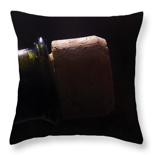 Bottle Throw Pillow featuring the photograph bottle top and Cork by Steve Somerville