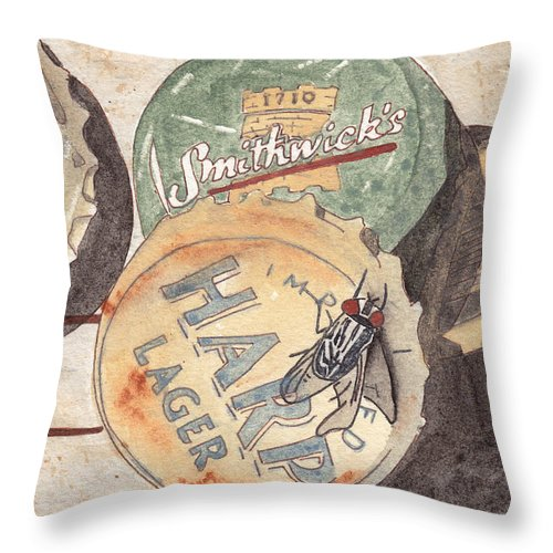 Bottle Throw Pillow featuring the painting Bottlecaps And Barfly by Ken Powers