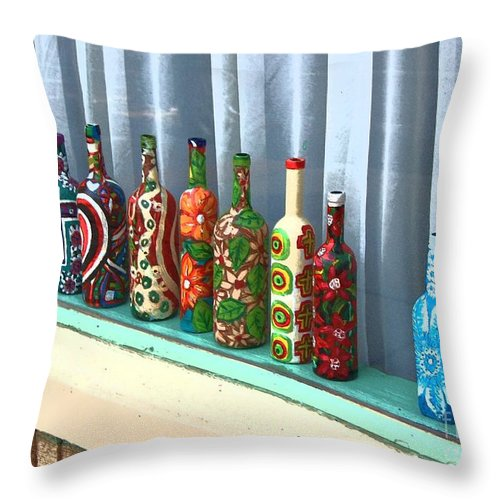 Bottles Throw Pillow featuring the photograph Bottled Up by Debbi Granruth