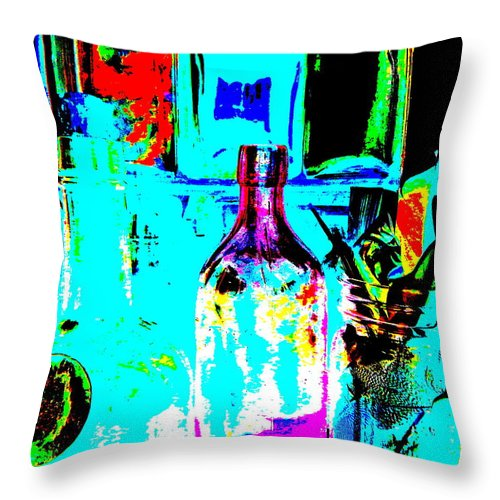 Still Life Throw Pillow featuring the photograph Bottles 27 by George Ramos