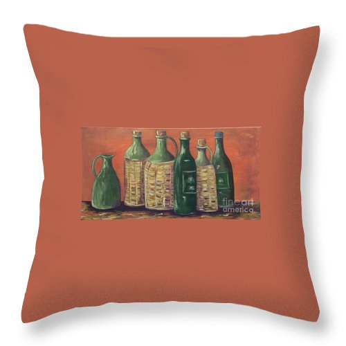 Bottle Throw Pillow featuring the painting Bottles by Jeanie Watson