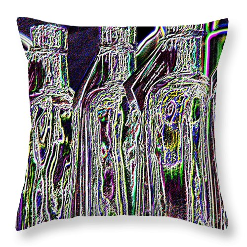 Bottles Throw Pillow featuring the digital art Bottles by Tim Allen
