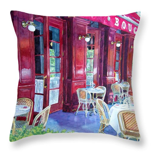 Cityscape Landscape Architecture Wine Country San Francisco Throw Pillow featuring the painting Bouchon Restaurant Outside Dining by Gail Chandler