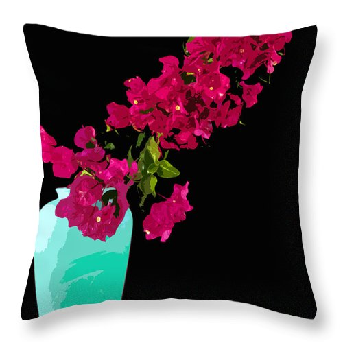 Bouganvilla Throw Pillow featuring the painting Bougainvillea In Vase by Allan Hughes