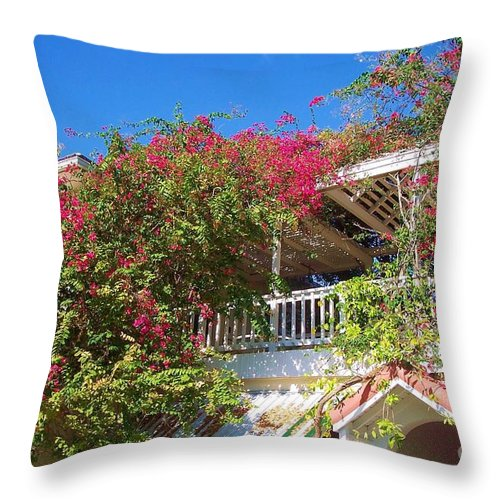Flowers Throw Pillow featuring the photograph Bougainvillea Villa by Debbi Granruth