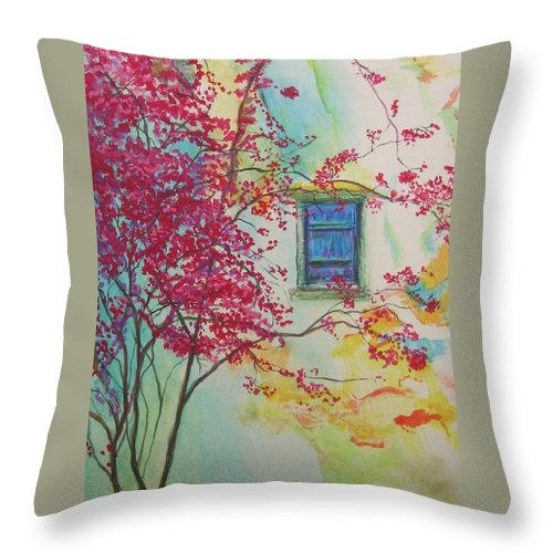 Bouganvilla Throw Pillow featuring the painting Bouganvilla And Blue Shutter by Lizzy Forrester