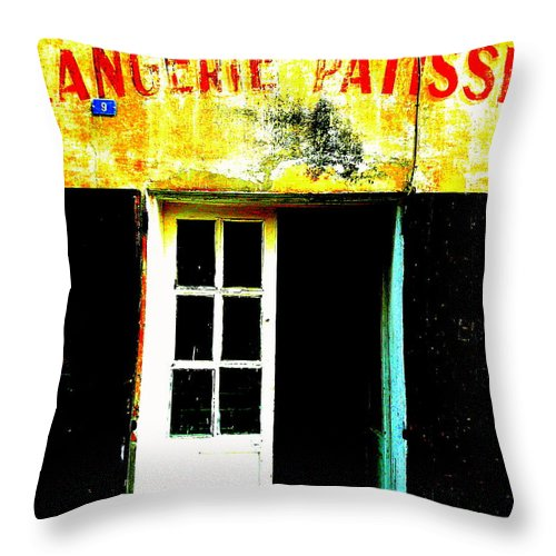 Modern Throw Pillow featuring the photograph Boulangerie En Provence by Funkpix Photo Hunter