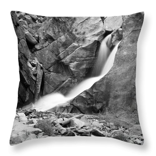 Waterfalls Throw Pillow featuring the photograph Boulder Falls Black And White  by James BO Insogna