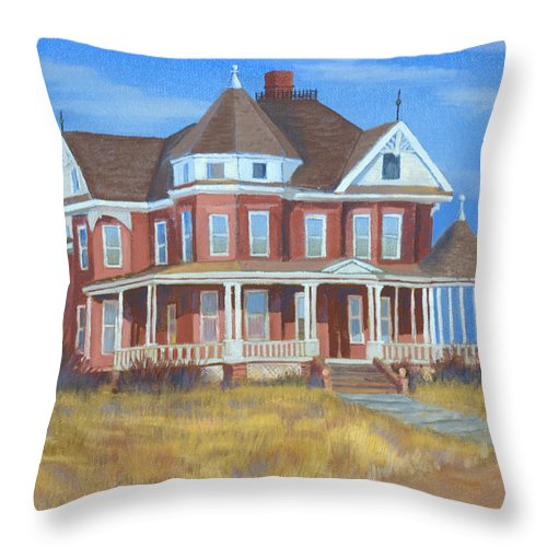 Boulder Throw Pillow featuring the painting Boulder Victorian by Jerry McElroy