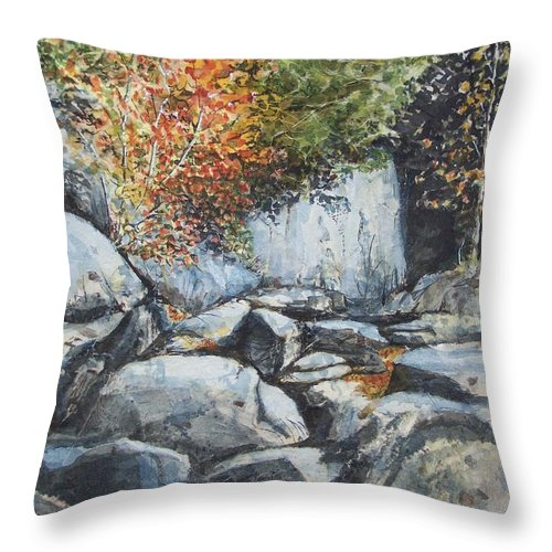 Landscape Throw Pillow featuring the painting Boulders At Purgatory Chasm by Lynn Babineau