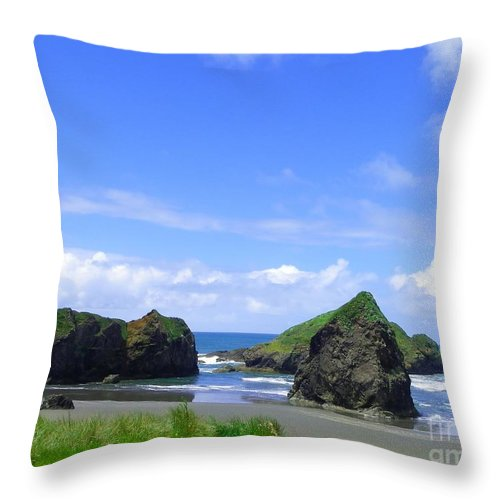 Seascape Throw Pillow featuring the photograph Boulders In Oregon by Charleen Treasures