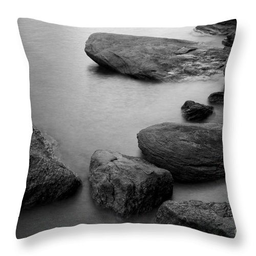 Black And White Throw Pillow featuring the photograph Boulders by Idaho Scenic Images Linda Lantzy