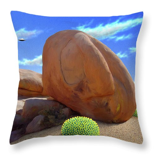 Boulders Throw Pillow featuring the digital art Boulders by Snake Jagger