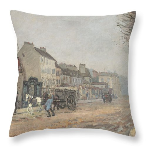 Throw Pillow featuring the painting Boulevard H?lo?se, Argenteuil by Alfred Sisley