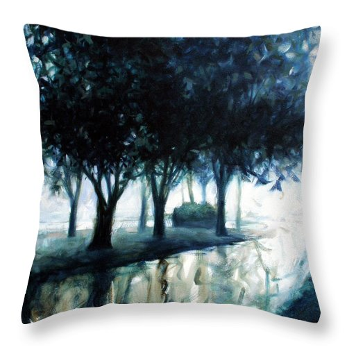 City Scape Throw Pillow featuring the painting Boulevard by Kevin Lawrence Leveque
