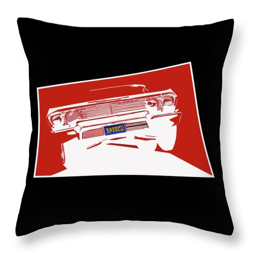 Lowrider Throw Pillow featuring the digital art Bounce. '63 Impala lowrider. by Colin Tresadern