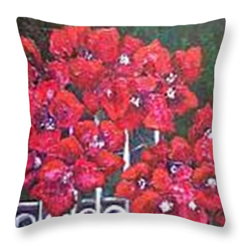 Throw Pillow featuring the painting Bounganvillia on Fence by Carol P Kingsley