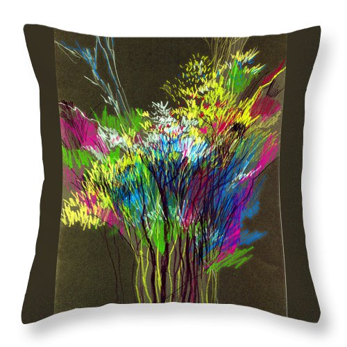 Flowers Throw Pillow featuring the painting Bouquet by Anil Nene
