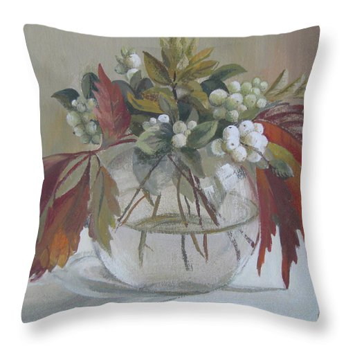 Still Life Throw Pillow featuring the painting Bouquet by Elena Oleniuc