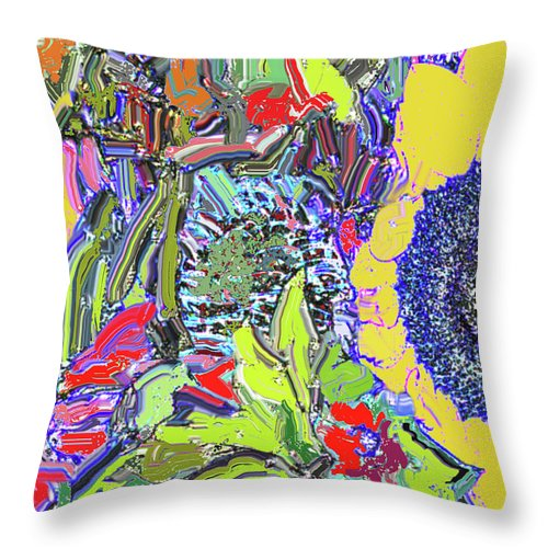 Flowers Throw Pillow featuring the digital art Bouquet In Yellow And Red by Ian MacDonald