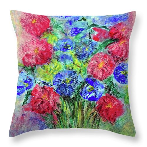 Bouquet Throw Pillow featuring the painting Bouquet by Jasna Dragun