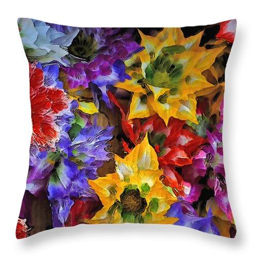 Red Throw Pillow featuring the digital art Bouquet Of Flowers by Daleep Kumar