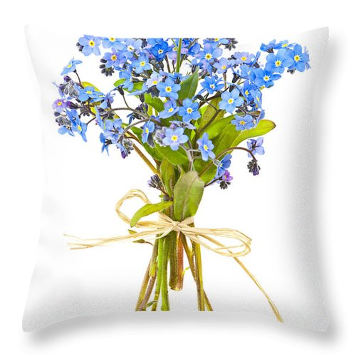 Bouquet Throw Pillow featuring the photograph Bouquet Of Forget-me-nots by Elena Elisseeva