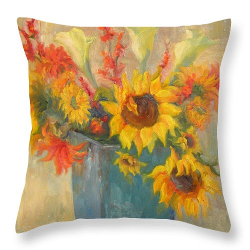 Sunflowers Throw Pillow featuring the painting Bouquet Of Sunshine by Bunny Oliver