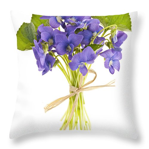 Bouquet Throw Pillow featuring the photograph Bouquet Of Violets by Elena Elisseeva