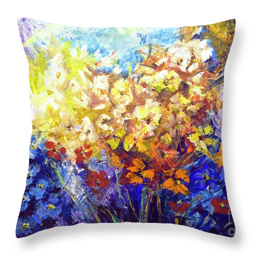 Bouquet Throw Pillow featuring the painting Bouquet by Yana Sadykova