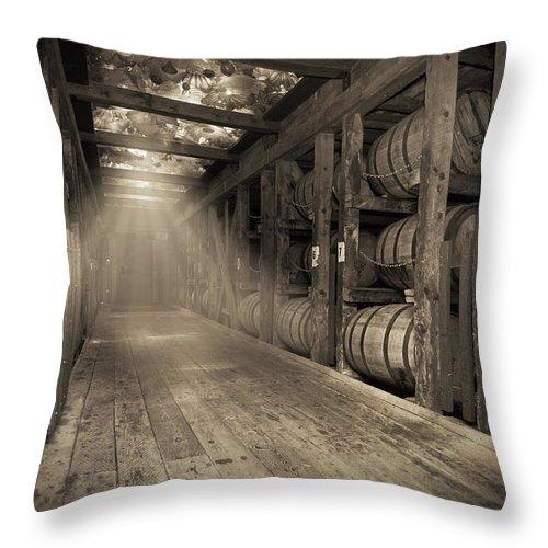 Bourbon Barrel Throw Pillow featuring the photograph Bourbon Barrels by Glass Glow by Karen Varnas