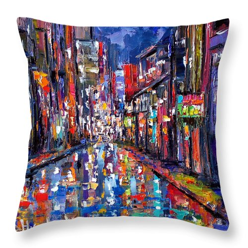 New Orleans Throw Pillow featuring the painting Bourbon Street by Debra Hurd