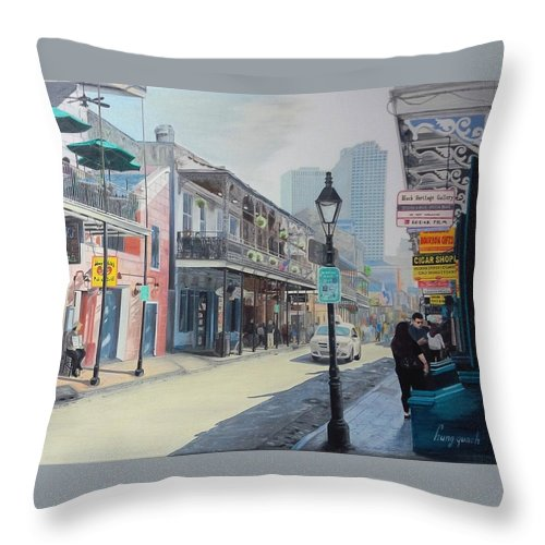 Bourbon Street Throw Pillow featuring the painting Bourbon Street Scene by Hung Quach