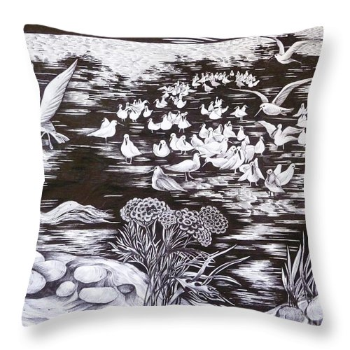 Black And White Throw Pillow featuring the drawing Bow River by Anna Duyunova