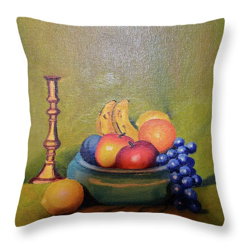 2d Throw Pillow featuring the painting Bowl Of Fruit by Brian Wallace