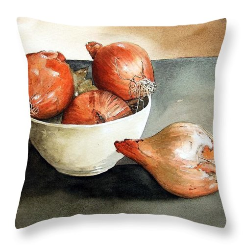 Still Life Throw Pillow featuring the painting Bowl Of Onions by Paul Dene Marlor