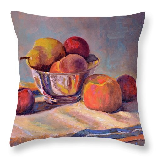 Still Throw Pillow featuring the painting Bowl With Fruit by Keith Burgess