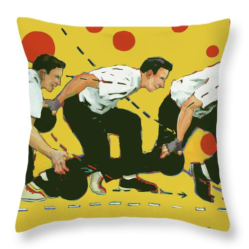 Bowling Throw Pillow featuring the painting Bowling Lesson by Meridith Martens