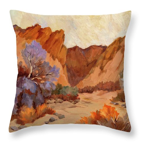 Box Canyon Throw Pillow featuring the painting Box Canyon by Diane McClary