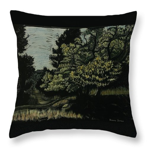 Landscape Throw Pillow featuring the drawing Box Elder Tree by Dawn Senior-Trask