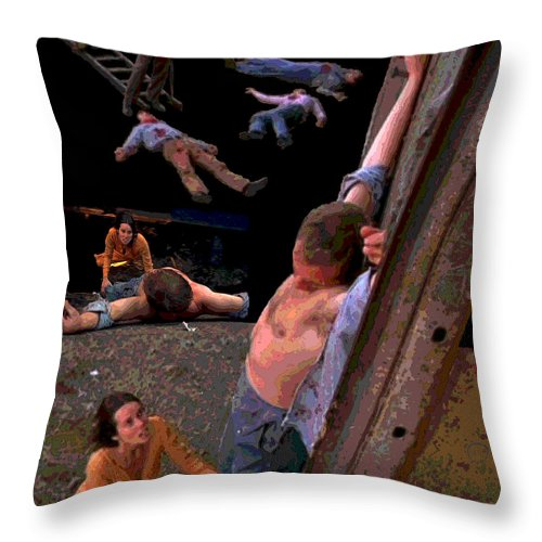 Square Throw Pillow featuring the digital art Boxcar Pieta by Eikoni Images